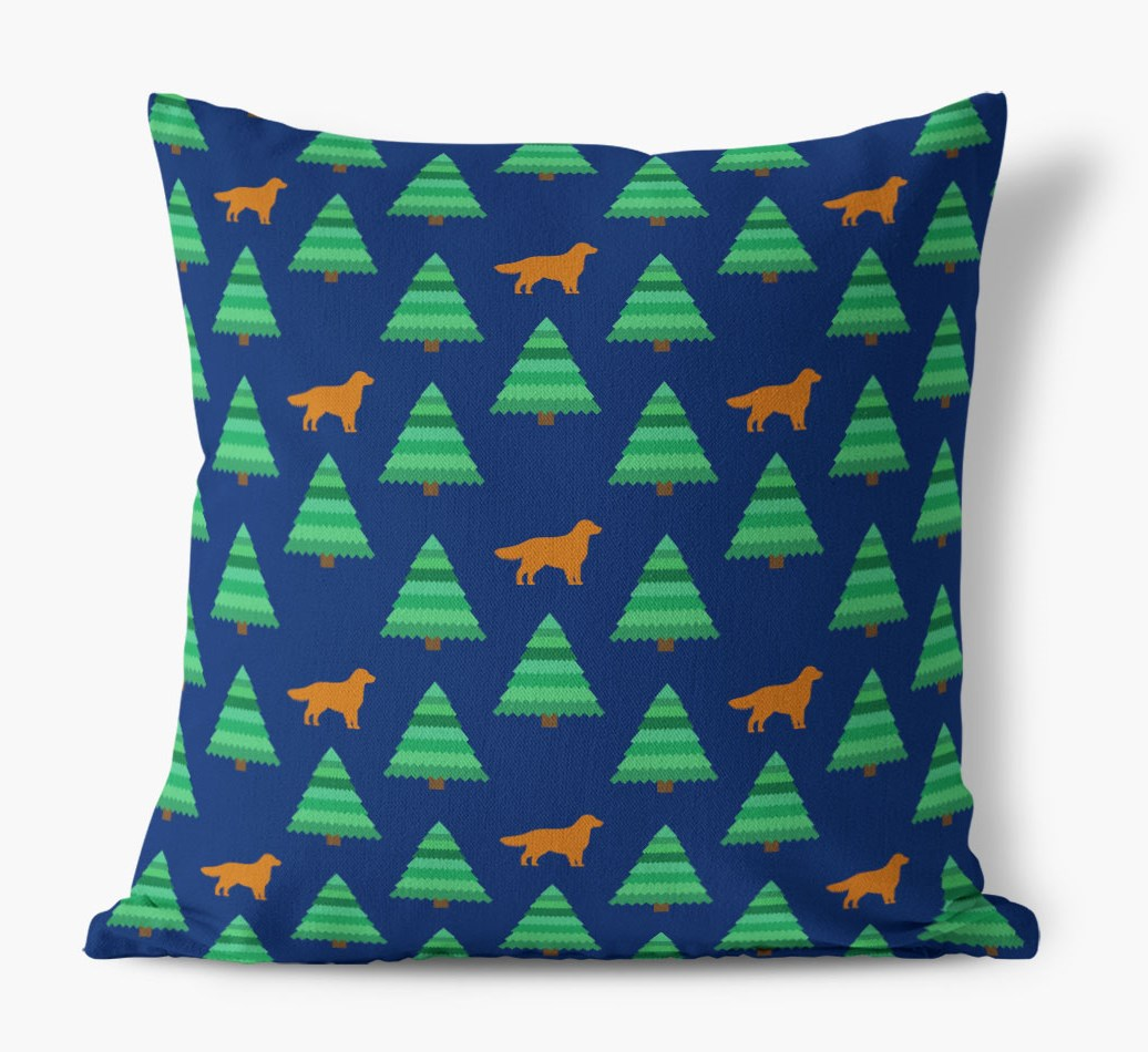 Christmas Tree Pattern Canvas Cushion with Golden Retriever Silhouettes
