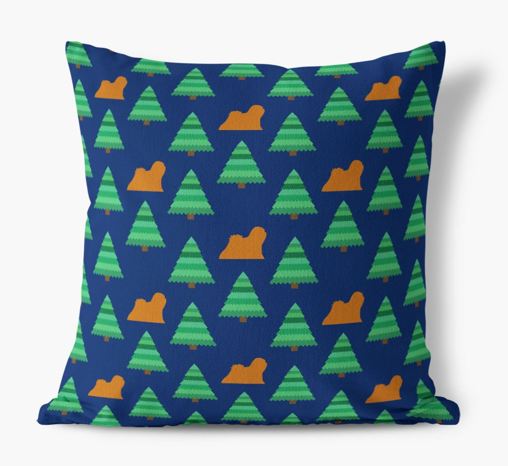 Christmas Tree Pattern Canvas Cushion with Lhasa Apso Silhouettes