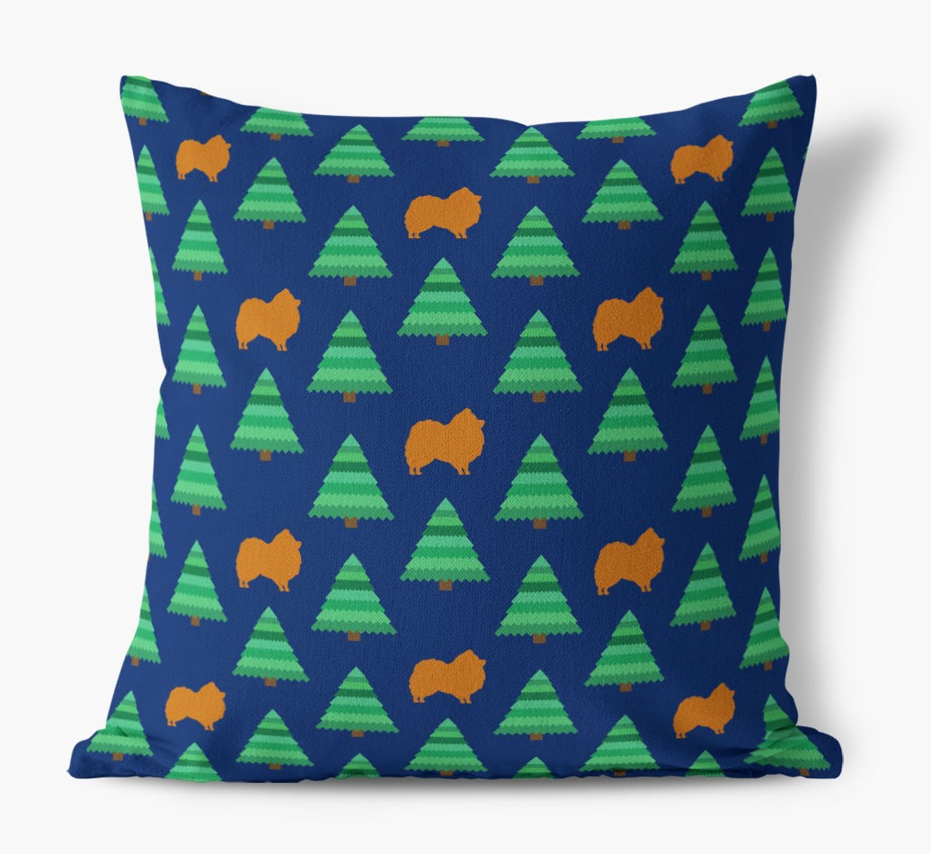 Christmas Tree Pattern Canvas Cushion with Pomeranian Silhouettes