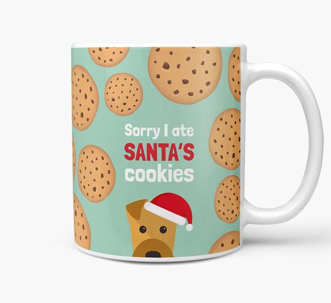 'I ate Santa's Cookies' Christmas Mug with Airedale Terrier Icon