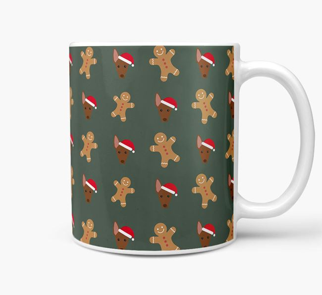 Gingerbread Man Christmas Mug with American Hairless Terrier Icons