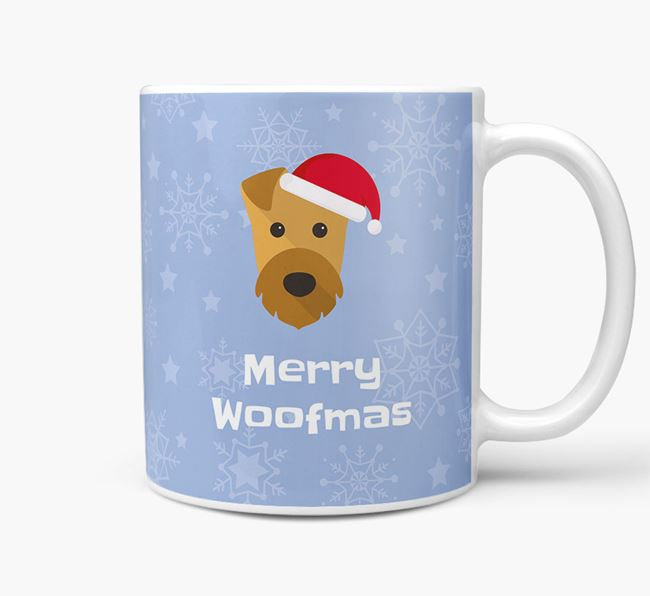 'Merry Woofmas' Christmas Mug with Airedale Terrier Icon