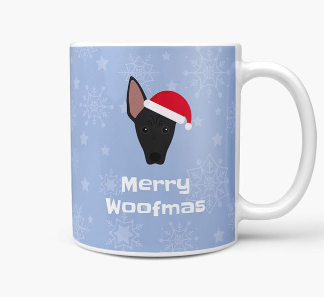 'Merry Woofmas' Christmas Mug with American Hairless Terrier Icon