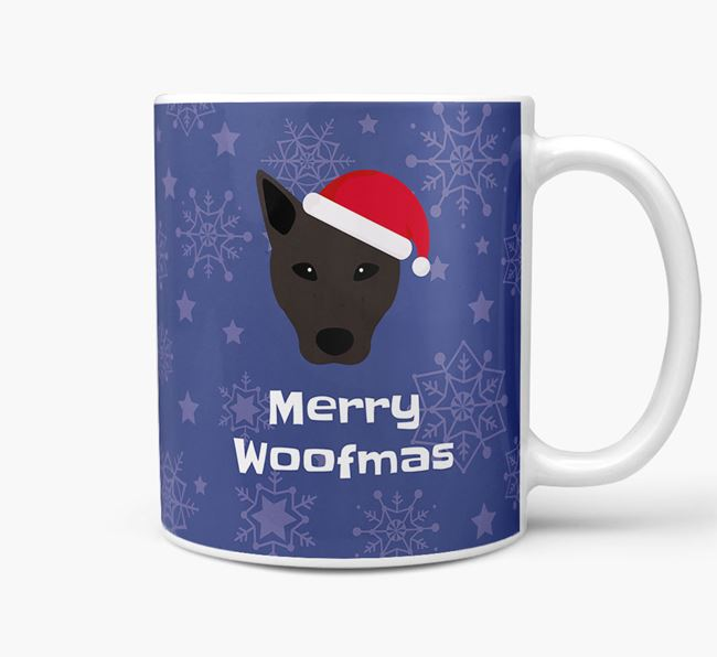 'Merry Woofmas' Christmas Mug with Canaan Dog Icon