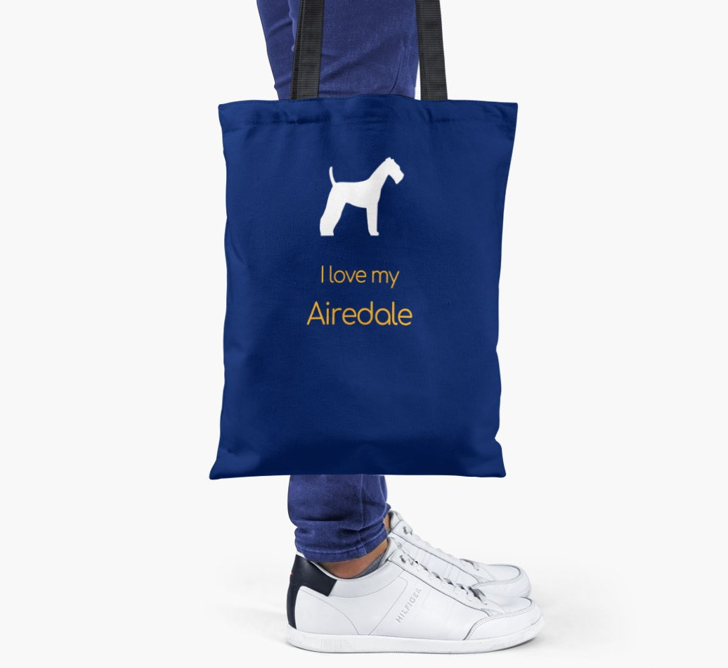I love my Airedale Terrier Shopper Bag - Someone Holding