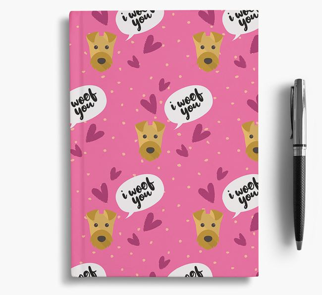 'I Woof You!' Notebook with Airedale Terrier Pattern