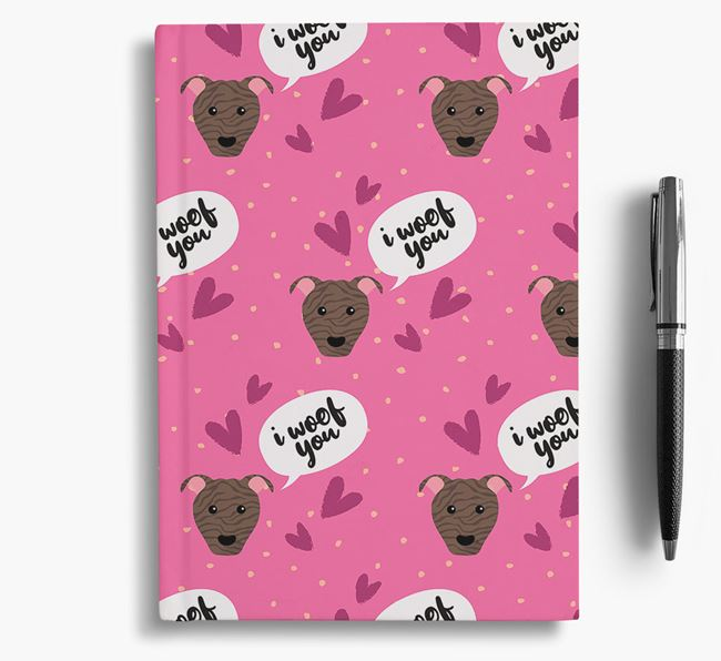 'I Woof You!' Notebook with American Pit Bull Terrier Pattern