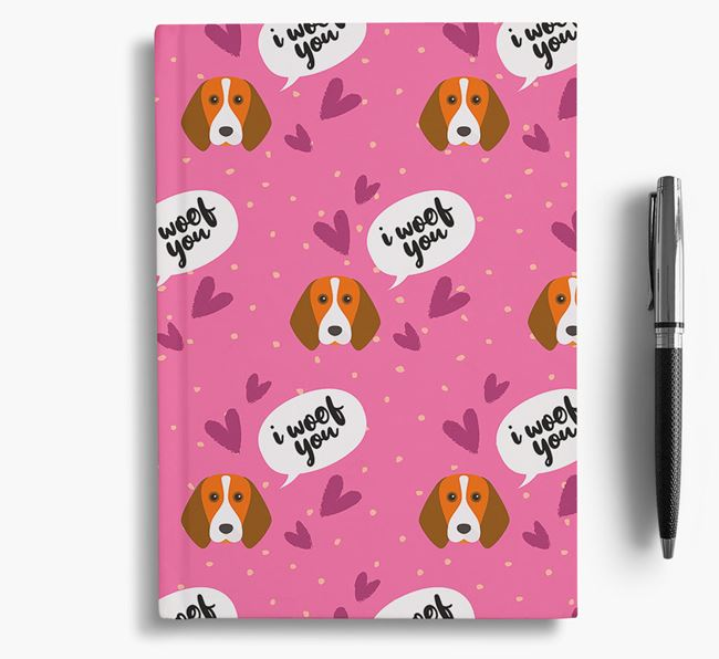 'I Woof You!' Notebook with Beagle Pattern