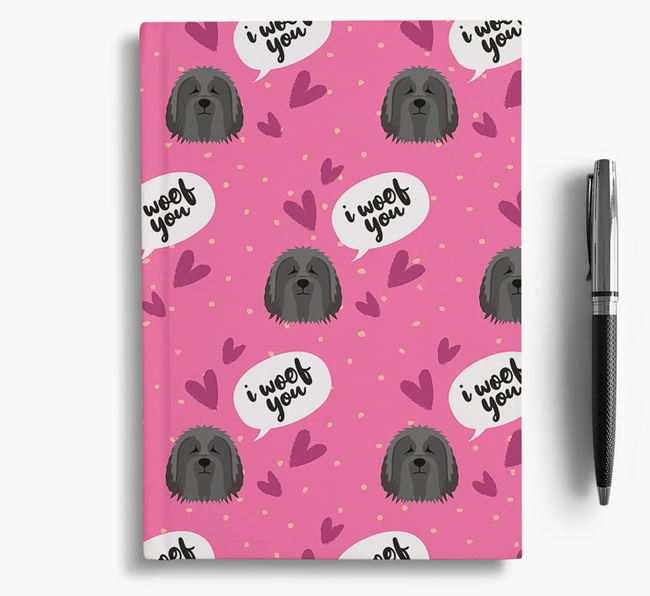 'I Woof You!' Notebook with Bearded Collie Pattern