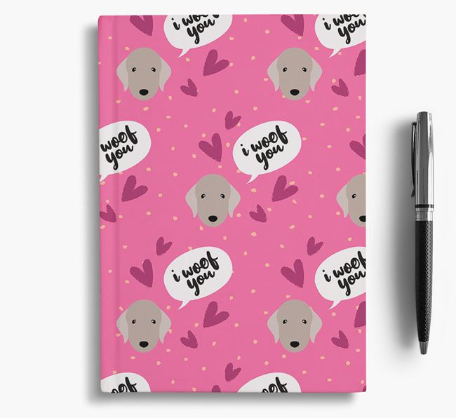 'I Woof You!' Notebook with Bedlington Terrier Pattern