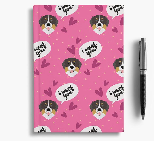'I Woof You!' Notebook with Bernese Mountain Dog Pattern