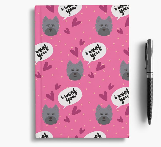 'I Woof You!' Notebook with Cairn Terrier Pattern