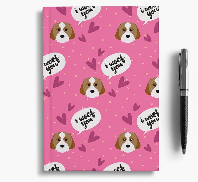 'I Woof You!' Notebook with Cavachon Pattern
