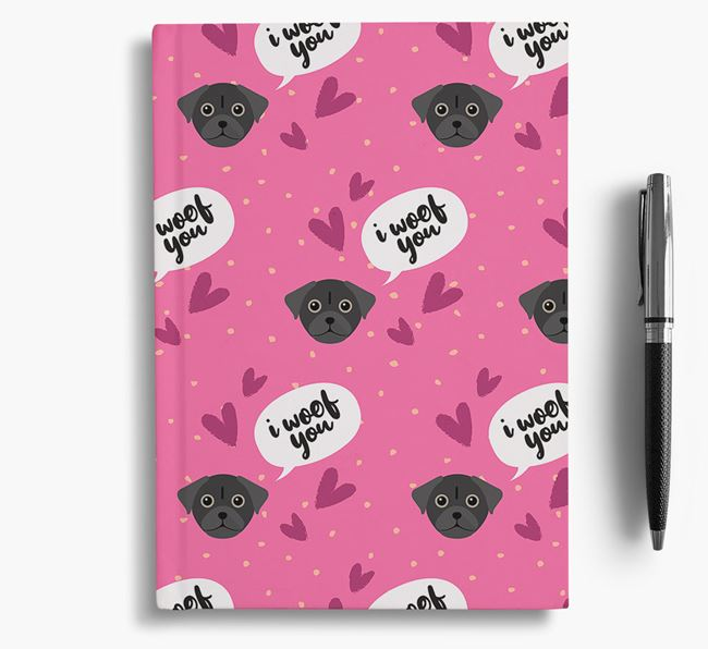 'I Woof You!' Notebook with Chug Pattern