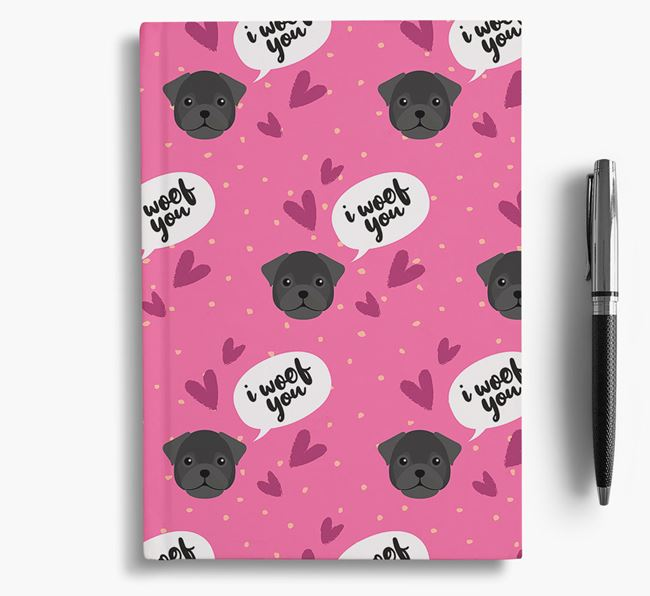 'I Woof You!' Notebook with Frug Pattern