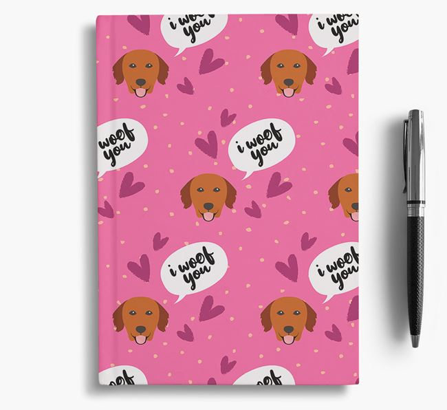 'I Woof You!' Notebook with Golden Retriever Pattern