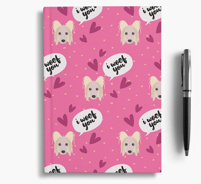 'I Woof You!' Notebook with Hairless Chinese Crested Pattern