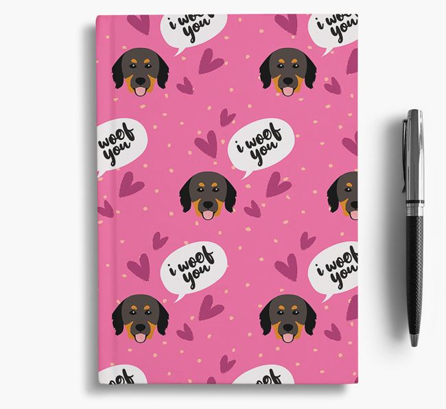 'I Woof You!' Notebook with Hovawart Pattern