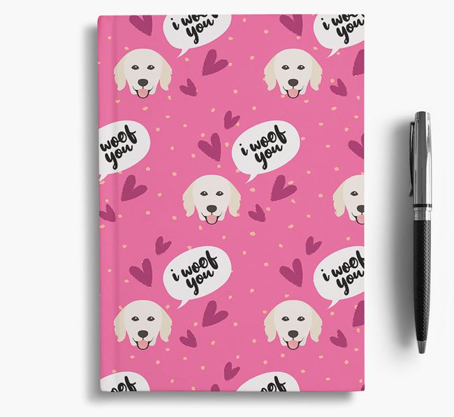 'I Woof You!' Notebook with Hungarian Kuvasz Pattern