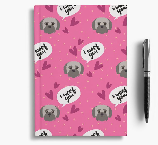 'I Woof You!' Notebook with Jack-A-Poo Pattern