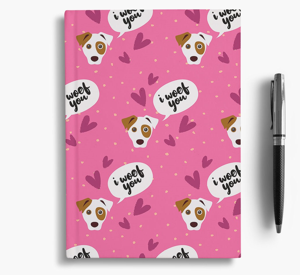 'I Woof You!' Notebook with Dog Pattern