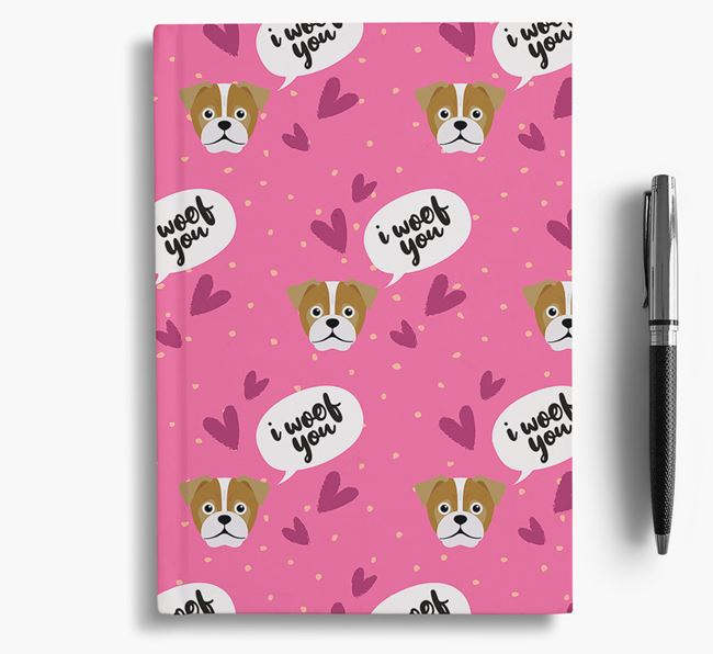'I Woof You!' Notebook with Jug Pattern