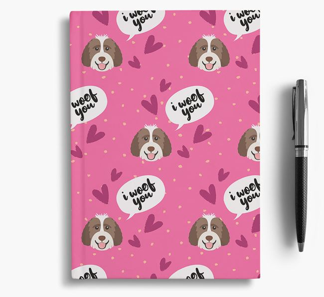 'I Woof You!' Notebook with Labradoodle Pattern