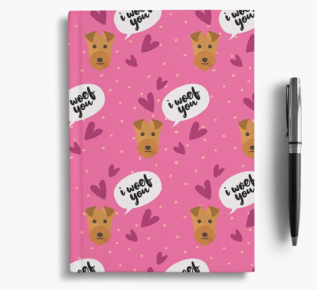 'I Woof You!' Notebook with Lakeland Terrier Pattern