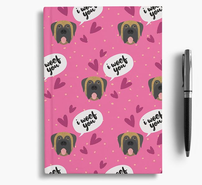 'I Woof You!' Notebook with Mastiff Pattern