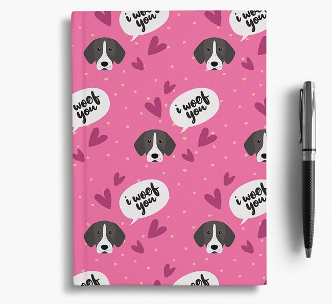'I Woof You!' Notebook with Pointer Pattern