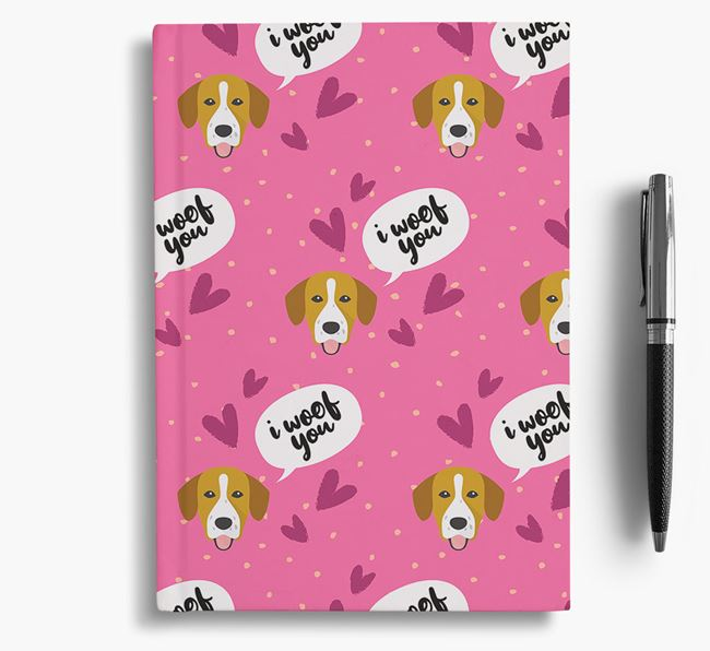 'I Woof You!' Notebook with Springador Pattern
