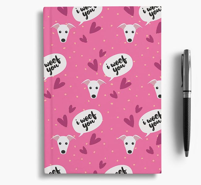 'I Woof You!' Notebook with Whippet Pattern