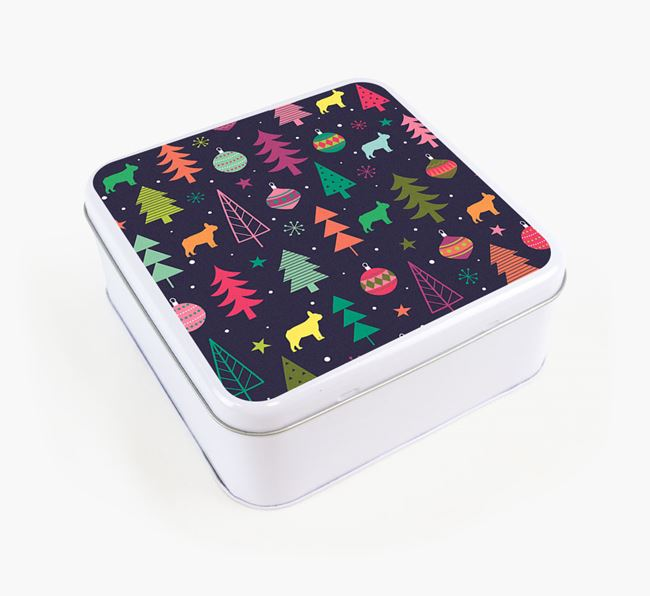 Square Tin with Christmas Pattern for your French Bulldog's Treats