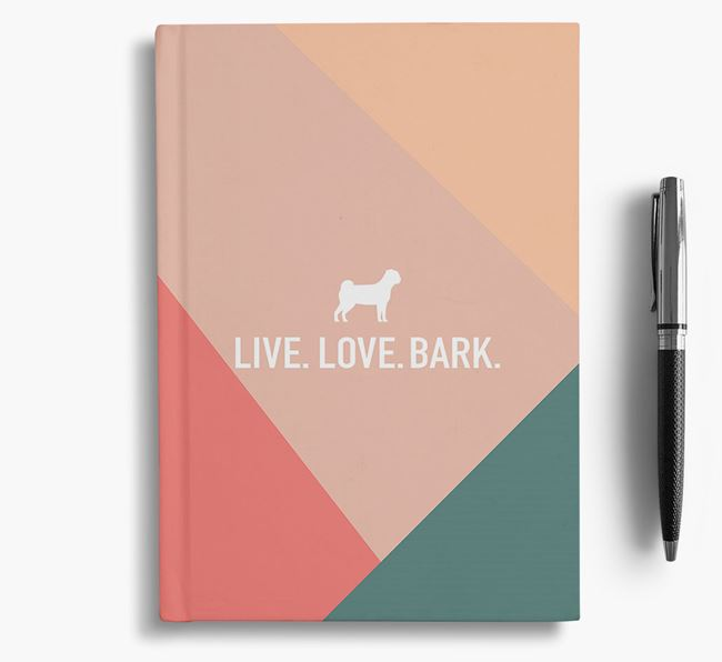 Abstract 'Live. Love. Bark.' Notebook with Chug