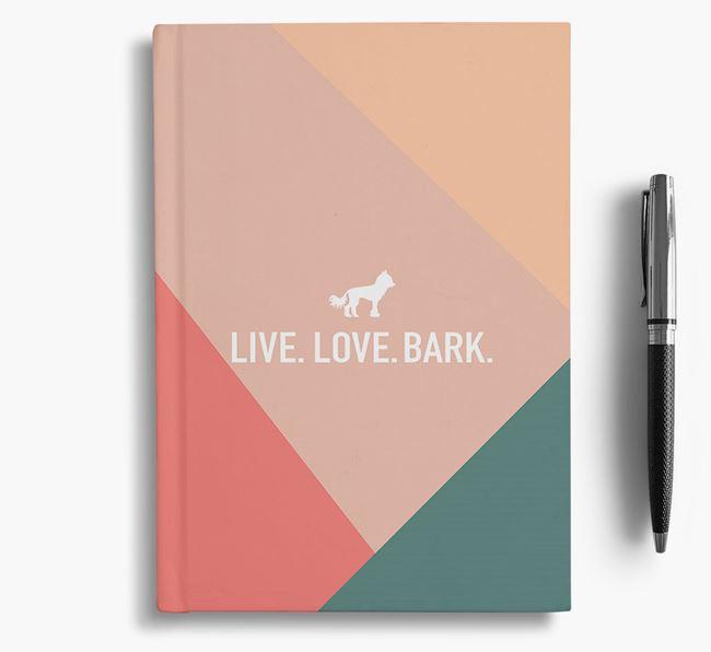 Abstract 'Live. Love. Bark.' Notebook with Hairless Chinese Crested