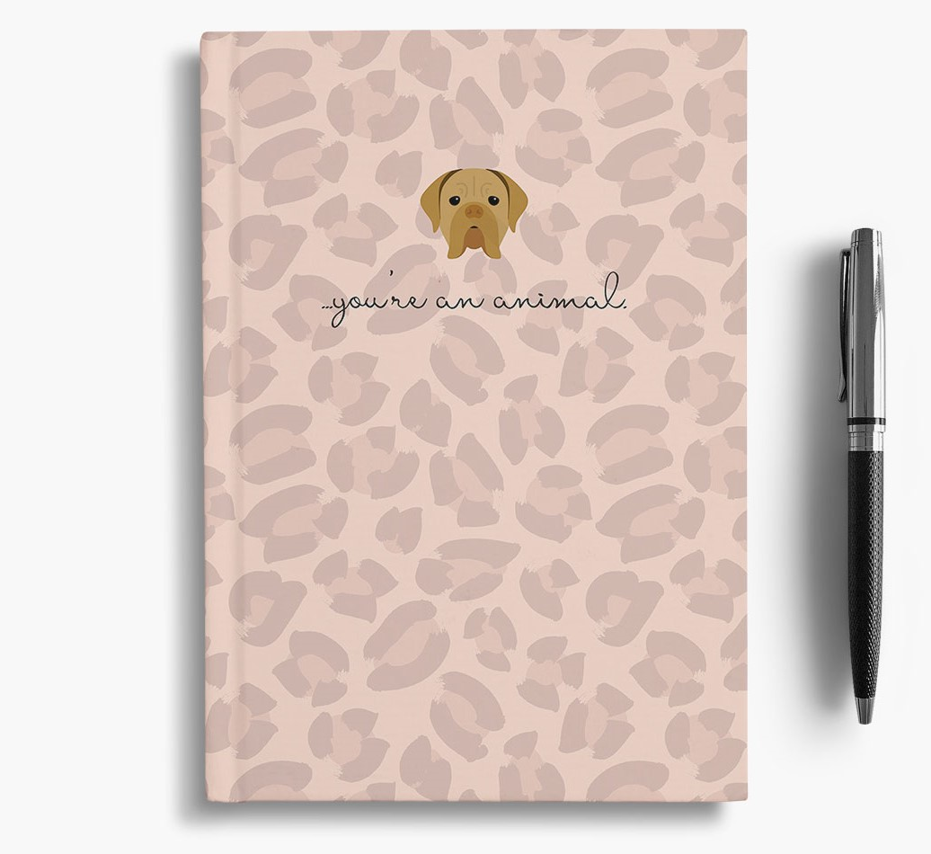 Dogue de Bordeaux {colour} Animal Print Notebook with Dogue de Bordeaux Icon