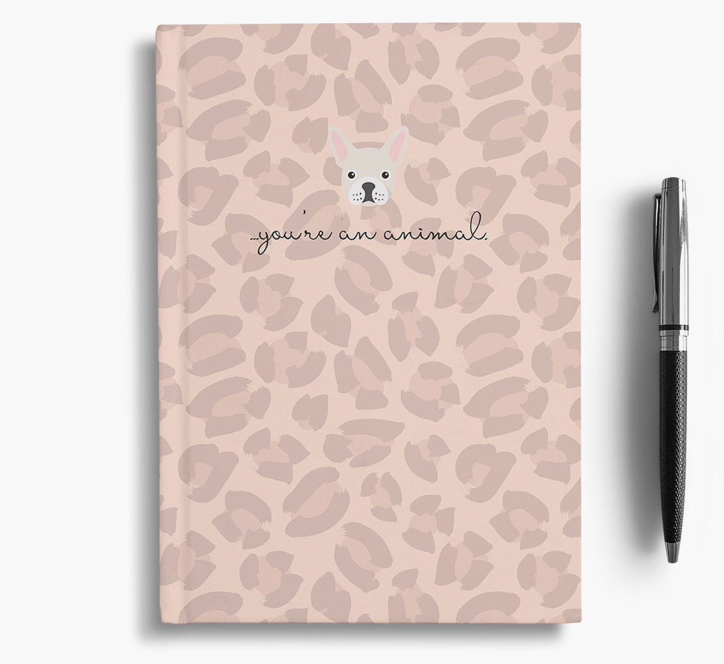 French Bulldog {colour} Animal Print Notebook with French Bulldog Icon