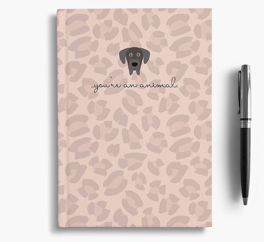 Great Dane {colour} Animal Print Notebook with Great Dane Icon