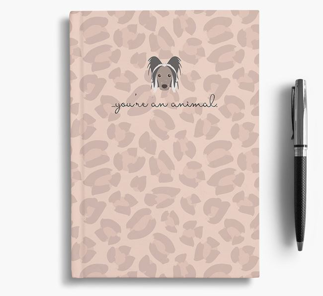 Animal Print Notebook with Hairless Chinese Crested Icon
