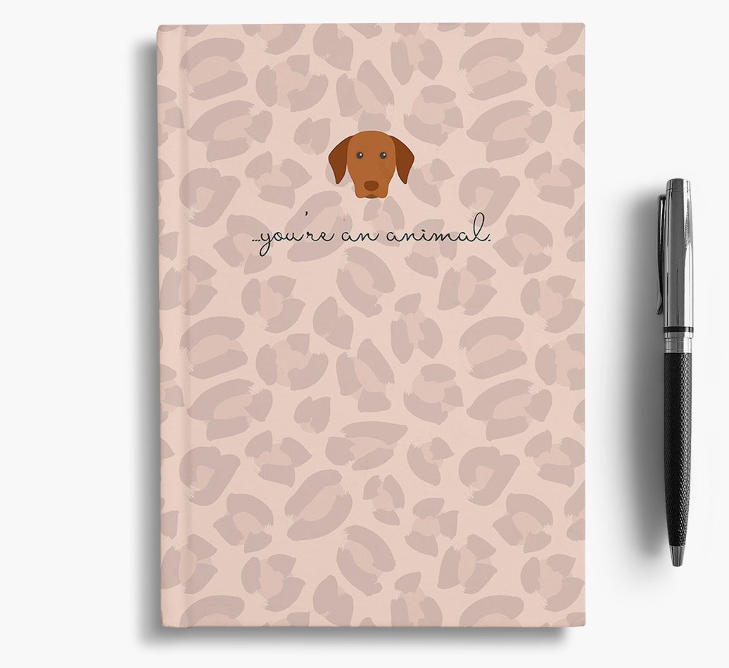 Hungarian Vizsla {colour} Animal Print Notebook with Hungarian Vizsla Icon