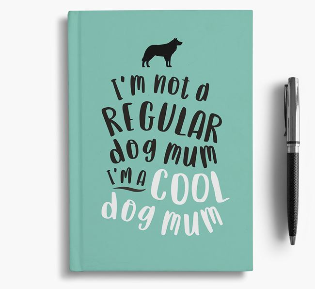 'Cool Dog Mum' Notebook with Border Collie Silhouette