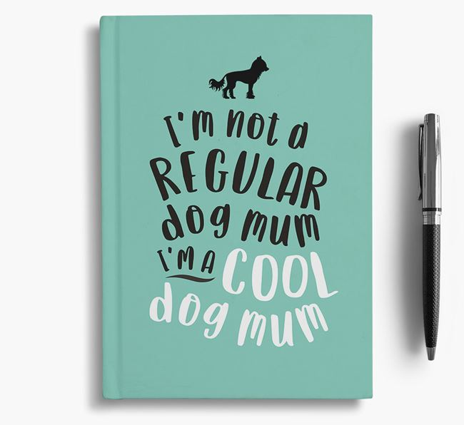 'Cool Dog Mum' Notebook with Hairless Chinese Crested Silhouette