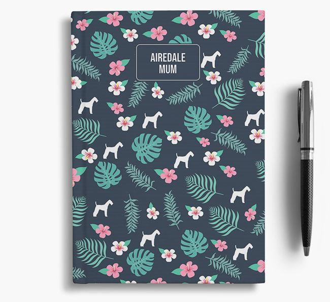 'Airedale Terrier Mum' Notebook with Floral Pattern