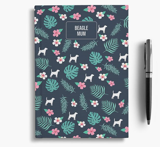 'Beagle Mum' Notebook with Floral Pattern