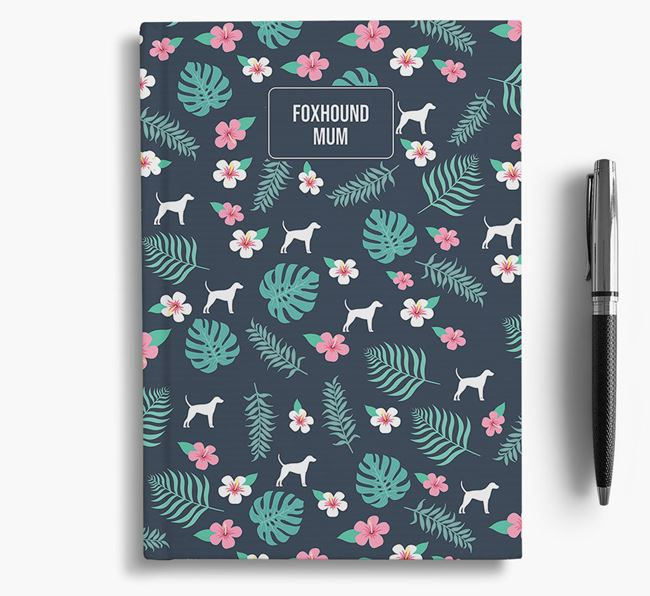 'Foxhound Mum' Notebook with Floral Pattern