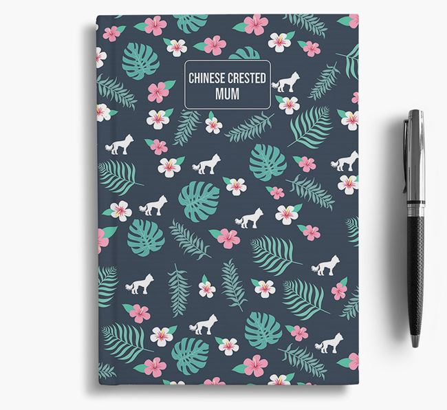 'Hairless Chinese Crested Mum' Notebook with Floral Pattern