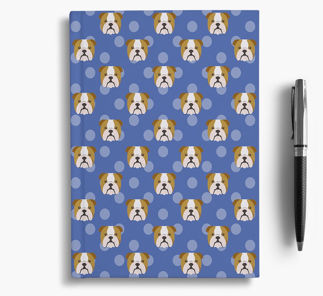 English Bulldog Icon Pattern Notebook