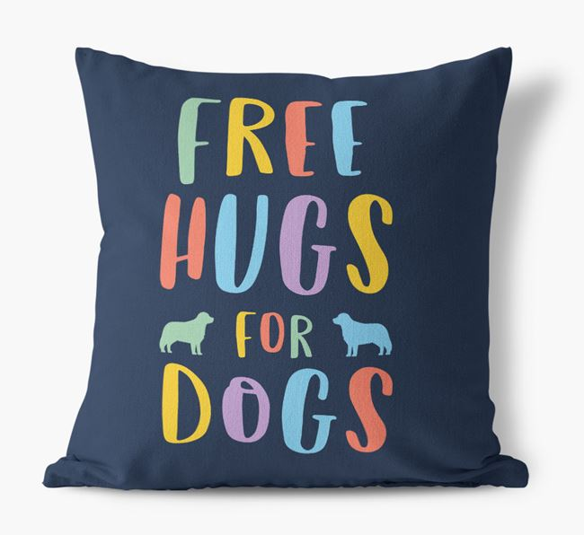 'Free Hugs For Dogs' Canvas Cushion with Bernese Mountain Dog Silhouettes