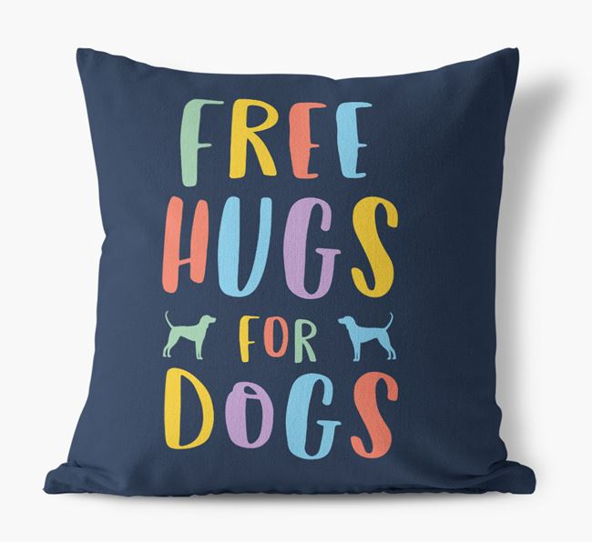 'Free Hugs For Dogs' Canvas Cushion with Black and Tan Coonhound Silhouettes