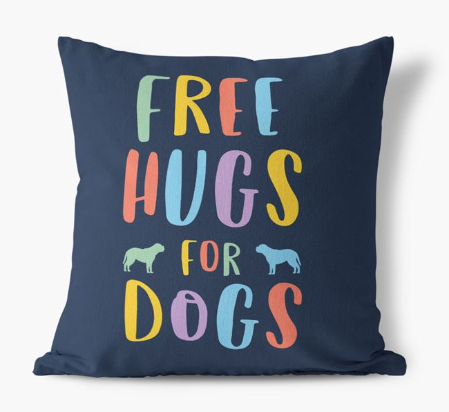 'Free Hugs For Dogs' Canvas Pillow with Dogue de Bordeaux Silhouettes